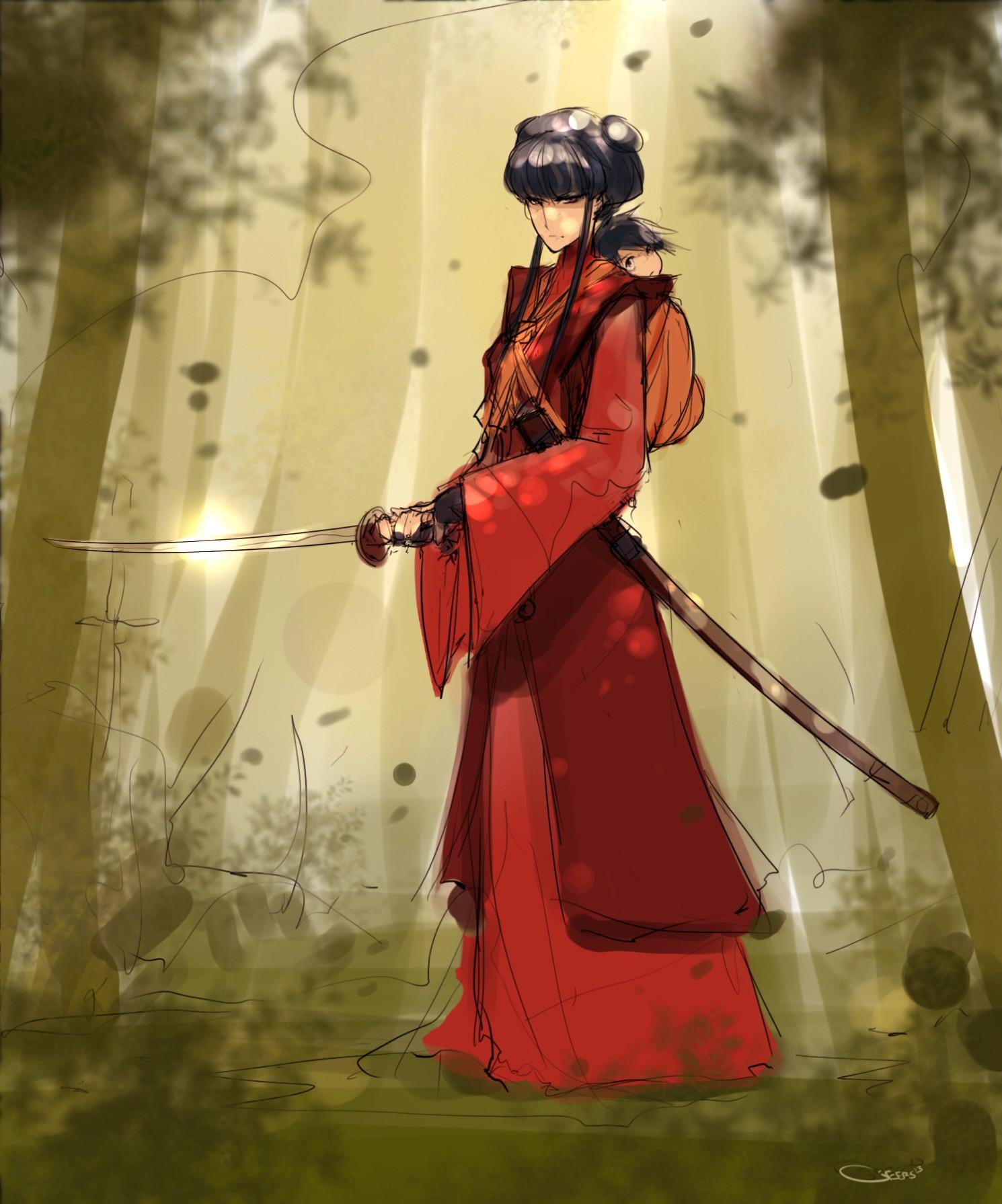 Девушка защищает ребёнка mai из аниме